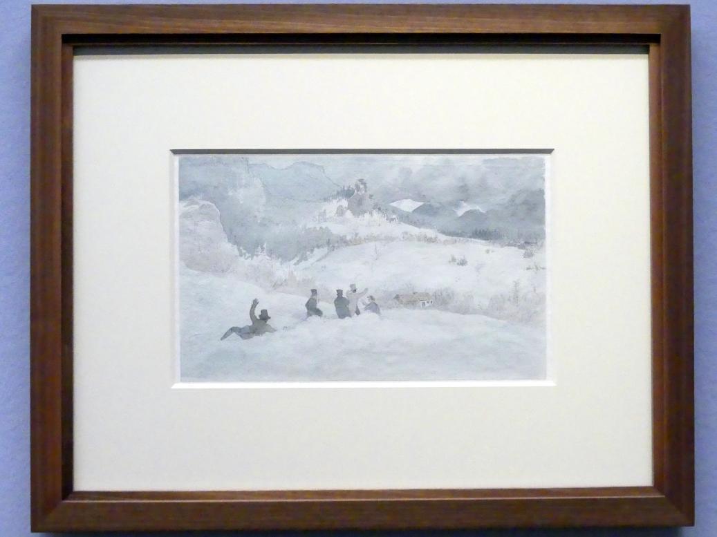 Friedrich Gauermann: Friedrich Gauermann mit Freunden im Schnee, 1829