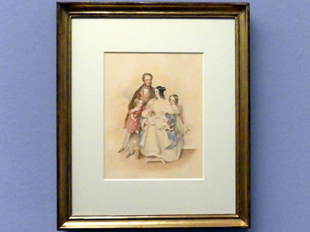 Josef Kriehuber: Fürst Alois II. von Liechtenstein mit seiner Gemahlin und ihren drei Töchtern, 1838