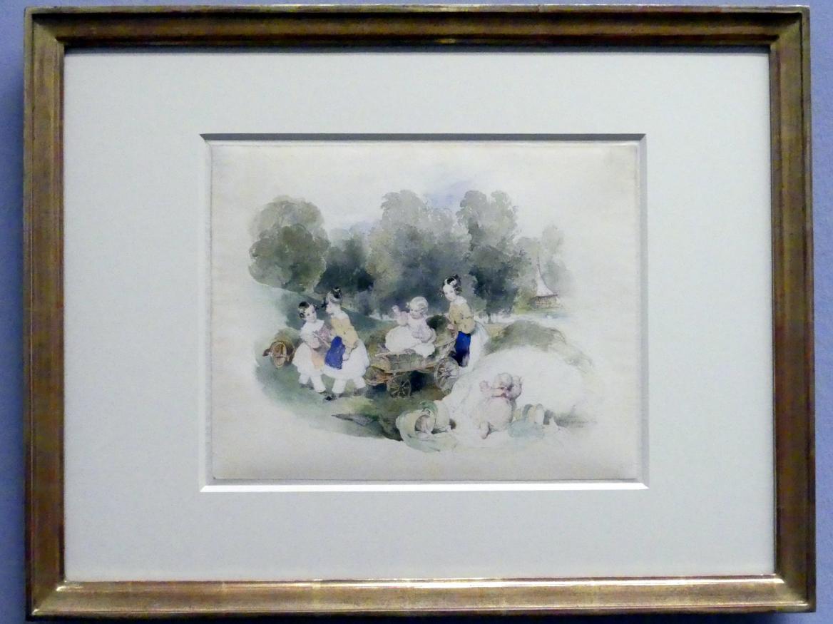 Peter Fendi: Die Töchter Alois II. im Park von Schloss Eisgrub, 1840