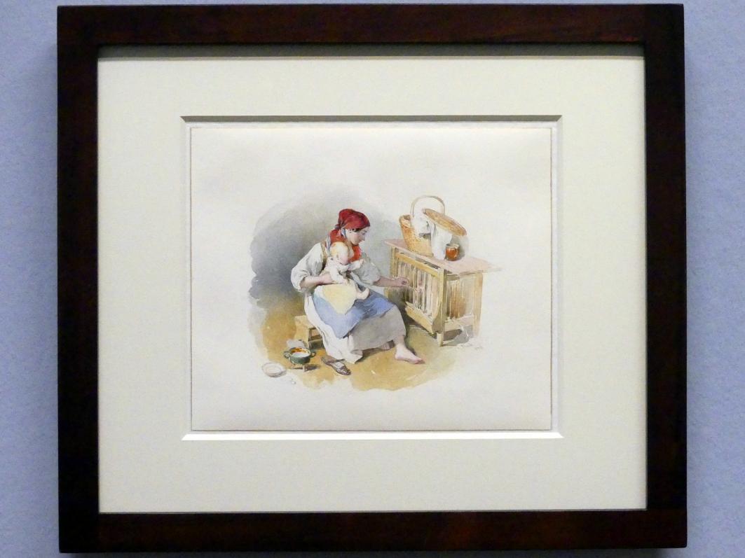 Peter Fendi: Junge Frau mit Kind vor einer Hühnersteige, 1836