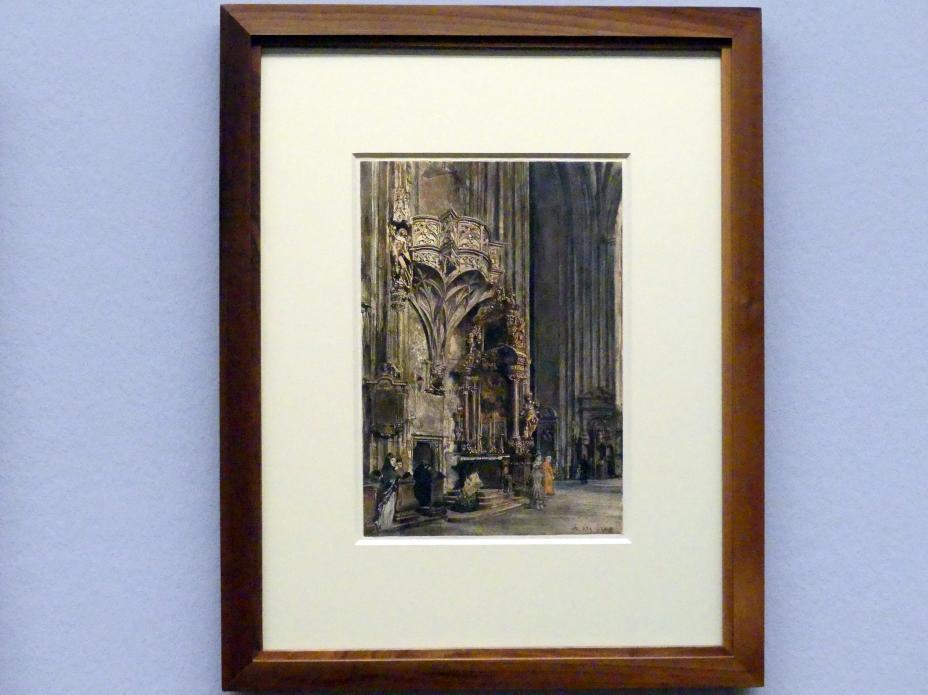 Rudolf von Alt: Der Orgelfuß Meister Pilgrams im Stephansdom, 1876
