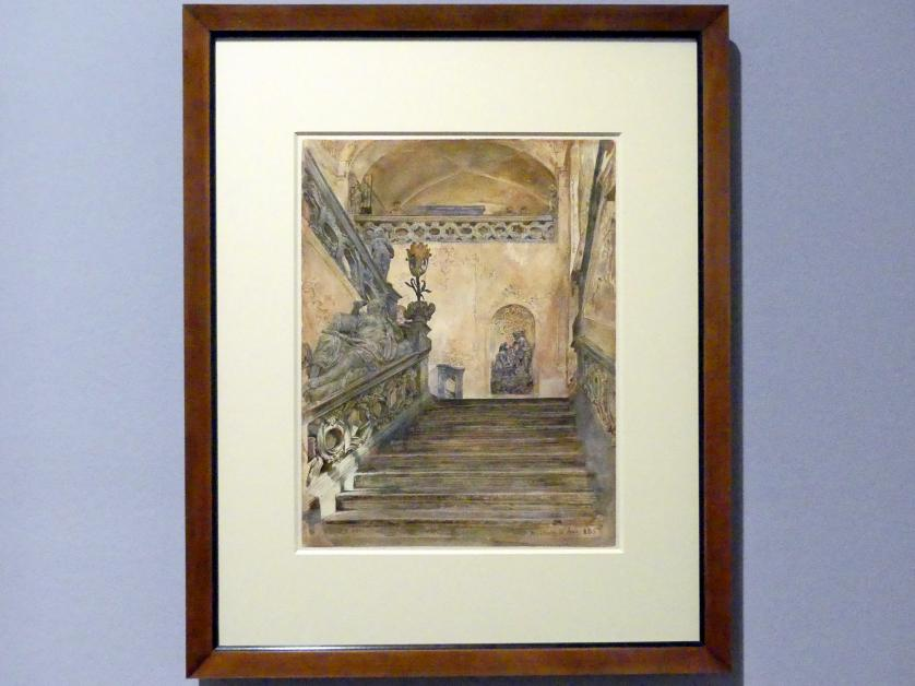 Rudolf von Alt: Das Treppenhaus im Schloss von Marburg/Maribor, 1885