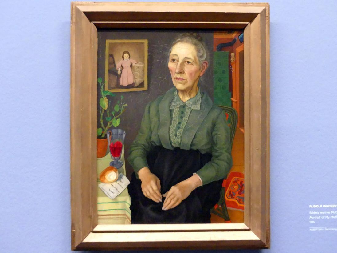 Rudolf Wacker: Bildnis meiner Mutter (in ihrem 72. Lebensjahr), 1926