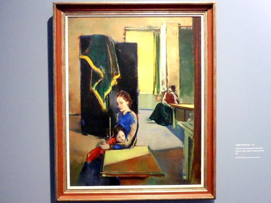 Josef Floch: Interieur mit schwarzem Paravent, 1947