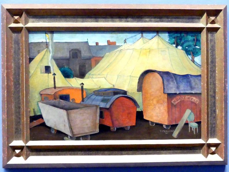 Viktor Planckh: Zirkuszelt mit Wagen, 1926