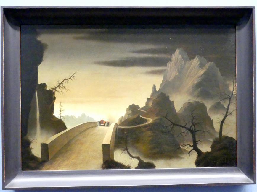 Franz Sedlacek: Gebirgslandschaft mit Automobil, 1931