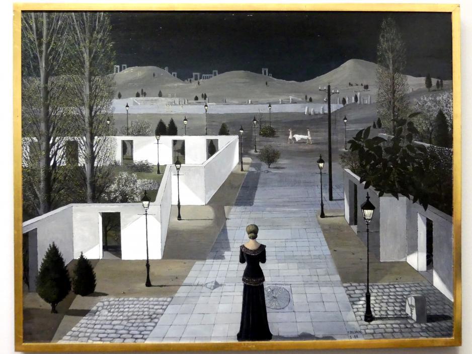 Paul Delvaux: Landschaft mit Laternen, 1958