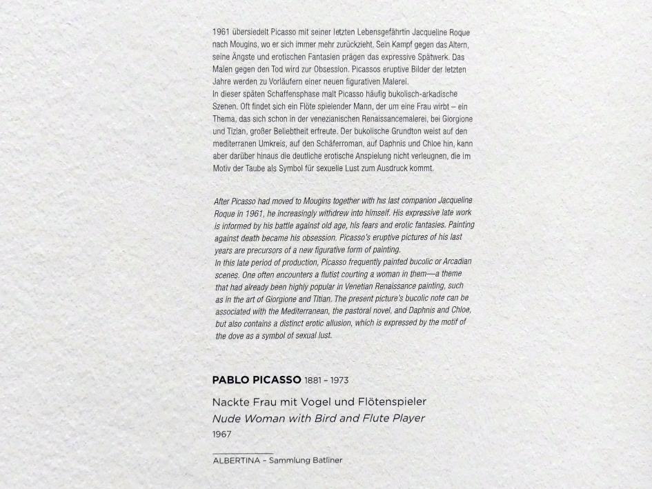 Pablo Picasso: Nackte Frau mit Vogel und Flötenspieler, 1967, Bild 2/2