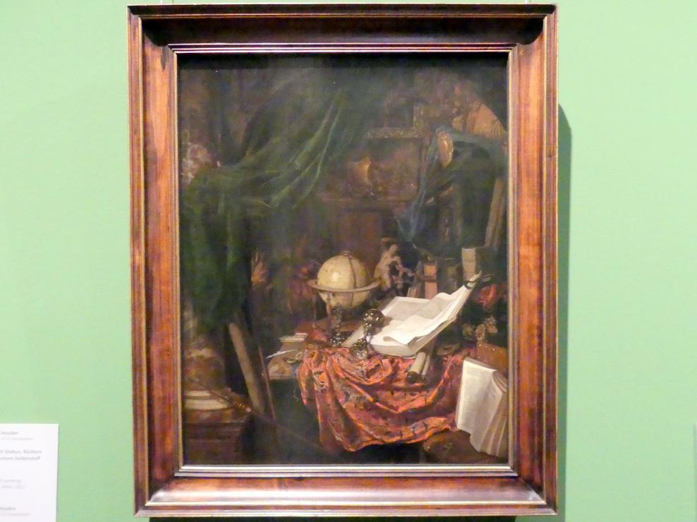 Jan van der Heyden: Stillleben mit Globus, Büchern und chinesischem Seidenstoff, um 1669