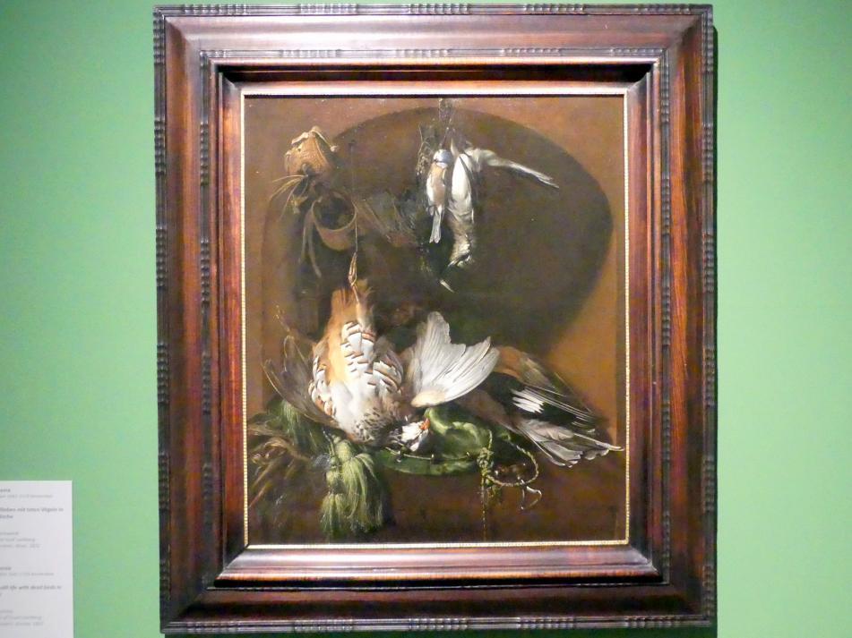 Jan Weenix: Jagdstillleben mit toten Vögeln in einer Nische, 1679
