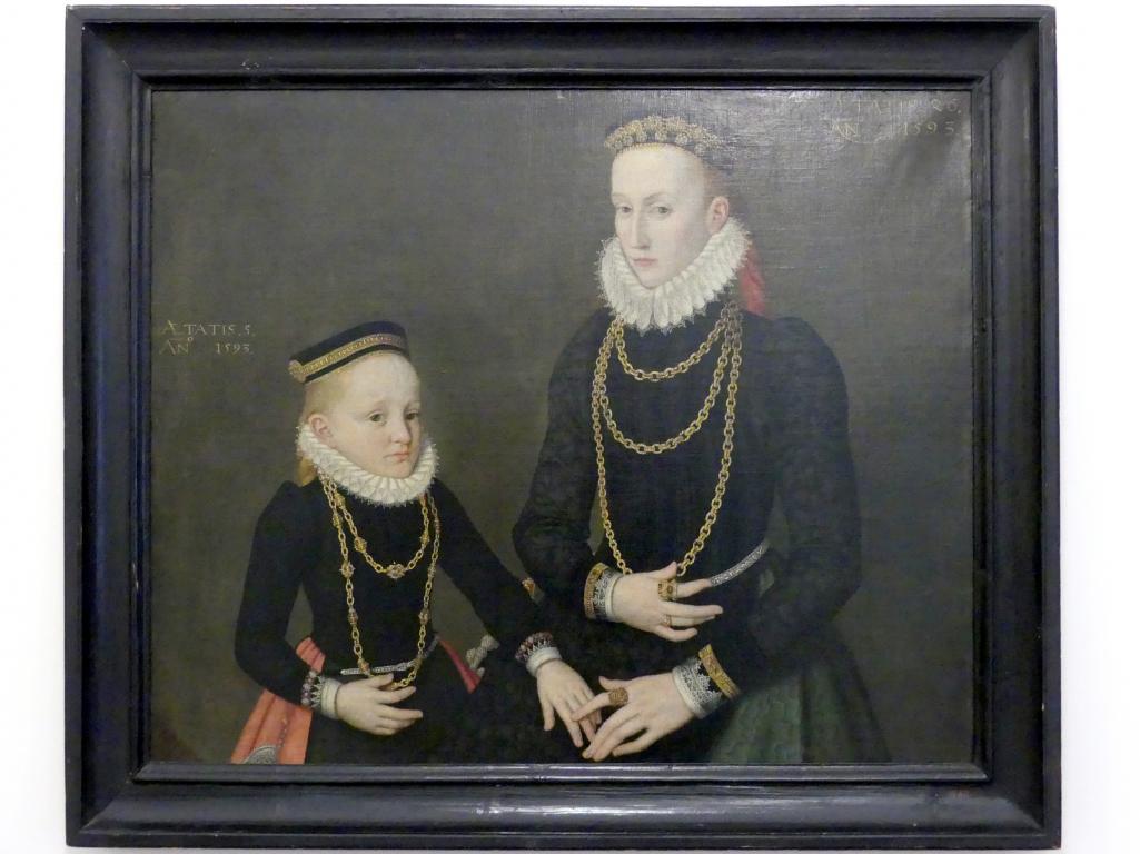 Lorenz Strauch: Adelige Dame mit Tochter, 1593