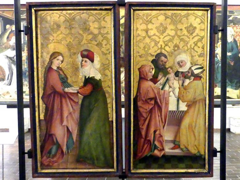 Meister von Goisern: Heimsuchung und Darbringung im Tempel, um 1460
