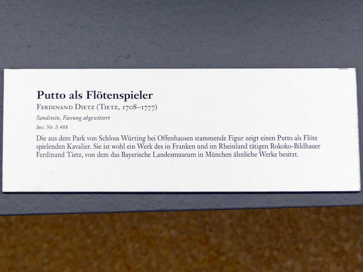 Ferdinand Tietz (Ferdinand Dietz): Putto als Flötenspieler, Undatiert