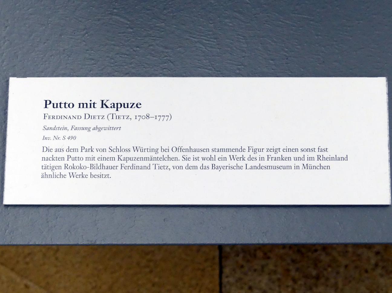 Ferdinand Tietz (Ferdinand Dietz): Putto mit Kapuze, Undatiert