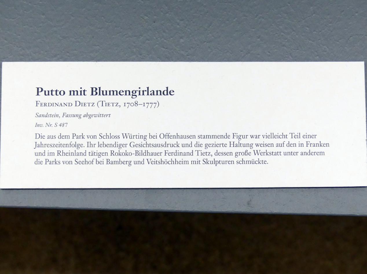 Ferdinand Tietz (Ferdinand Dietz): Putto mit Blumengirlande, Undatiert, Bild 3/3