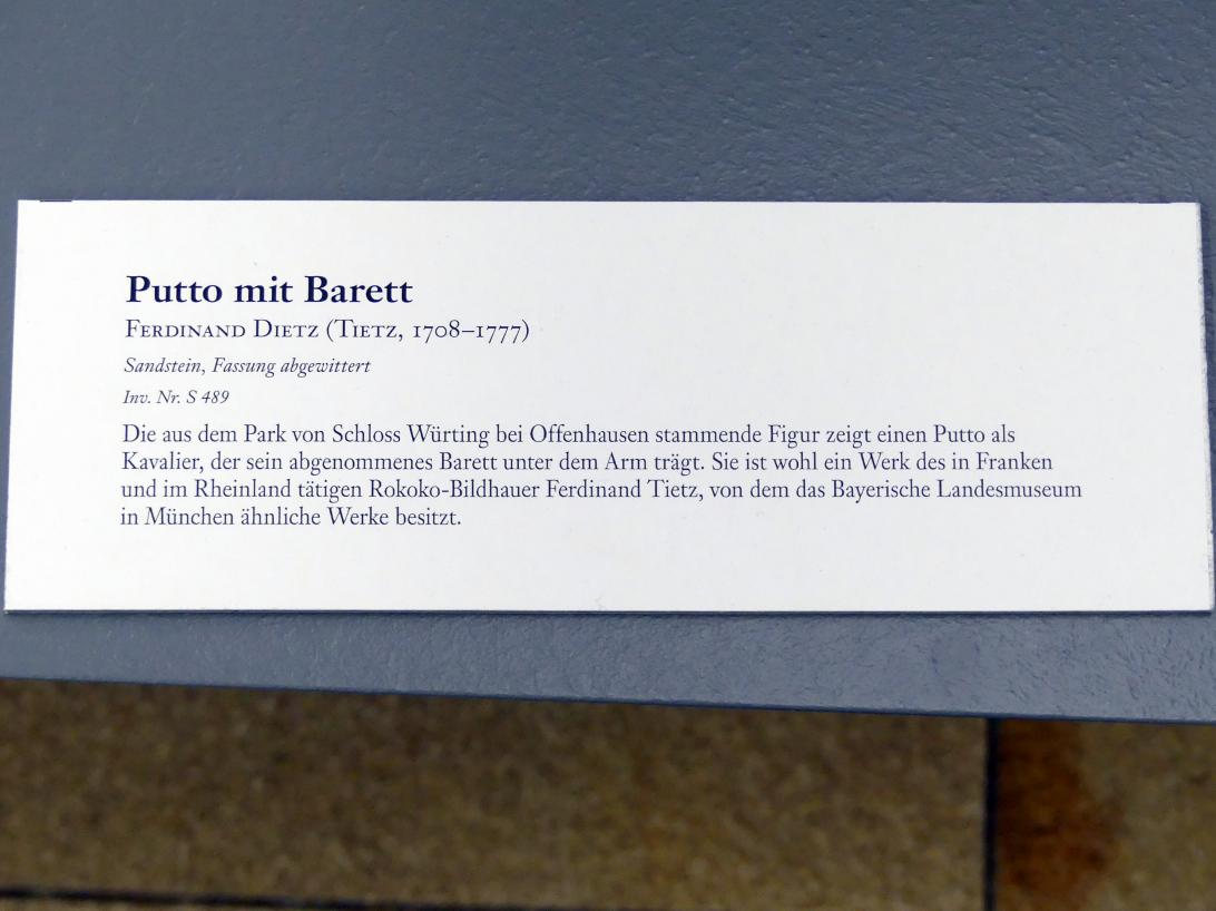 Ferdinand Tietz (Ferdinand Dietz): Putto mit Barett, Undatiert