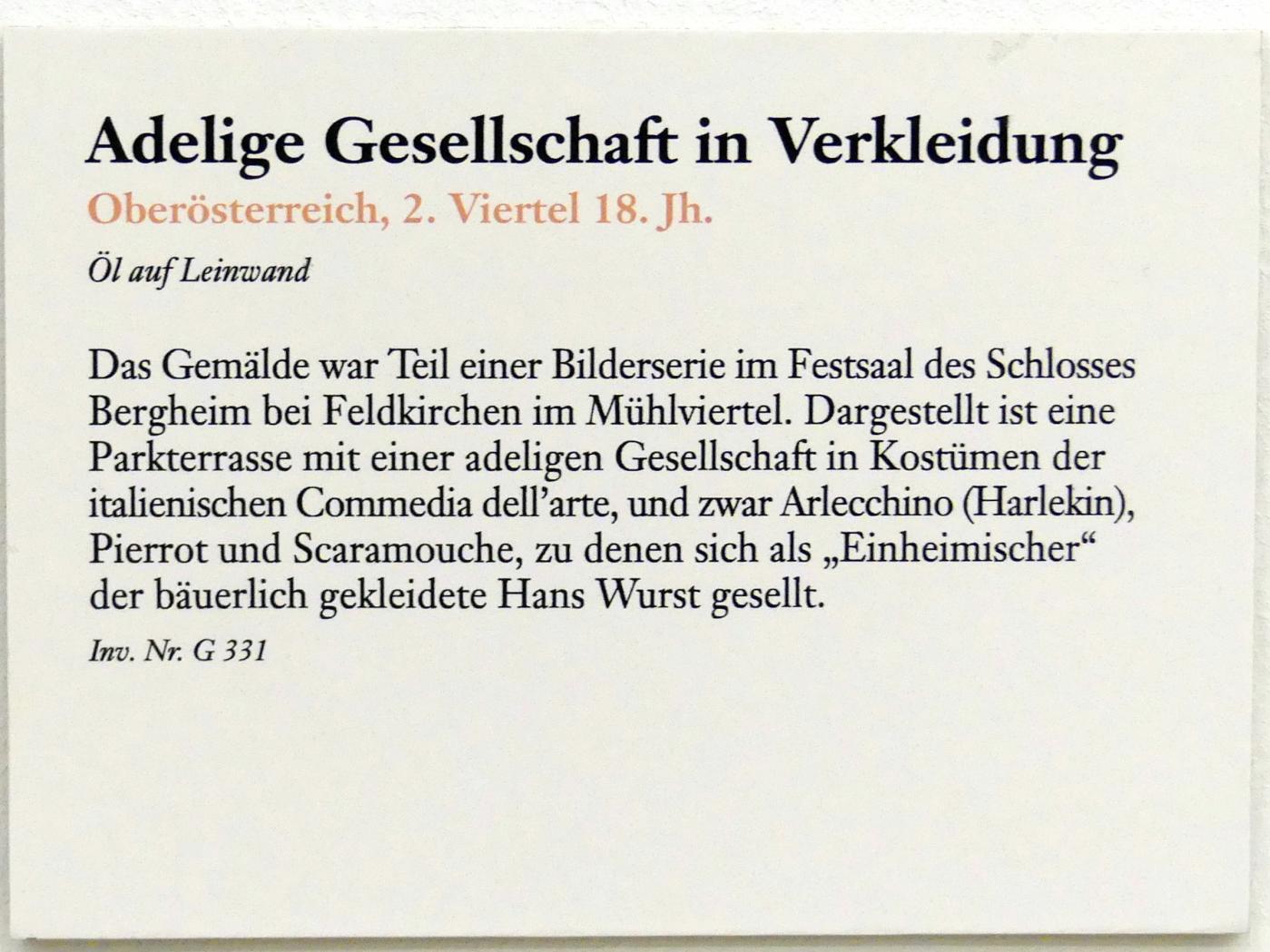 Adelige Gesellschaft in Verkleidung, 2. Viertel 18. Jhd., Bild 2/2