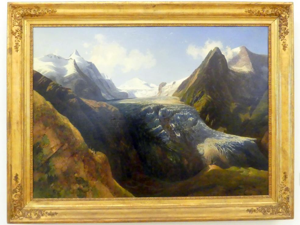 Thomas Ender: Ansicht der oberen und unteren Pasterze mit dem Großglockner und dem Johannisberg bei Heiligenblut, 1834