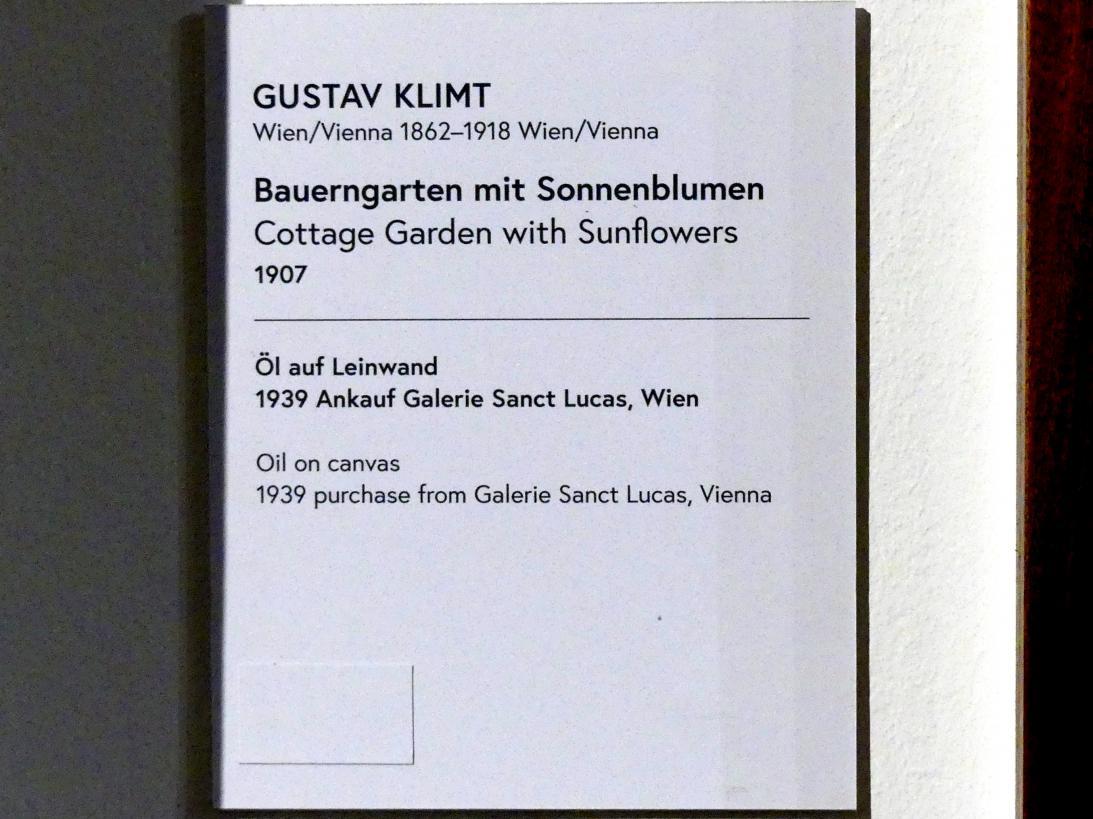Gustav Klimt: Bauerngarten mit Sonnenblumen, 1907, Bild 2/2
