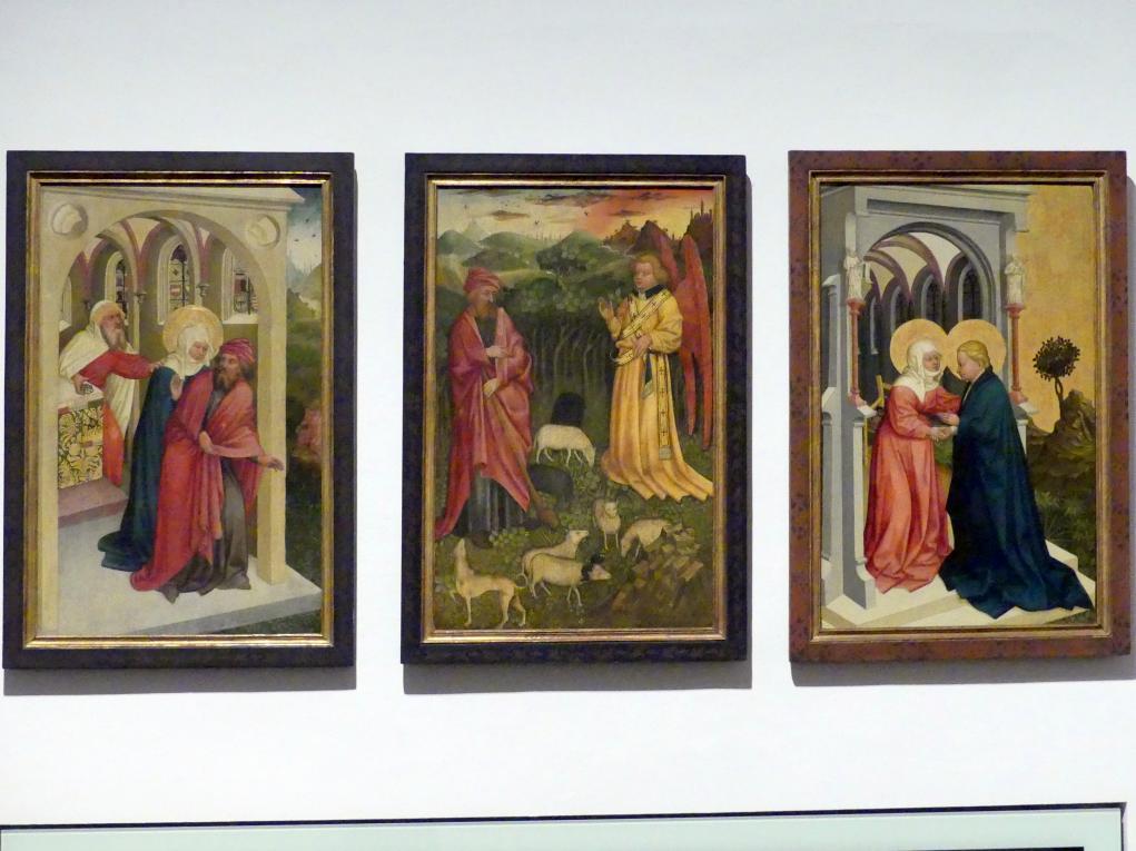 Meister des Albrechtsaltars: Vertreibung Joachims aus dem Tempel, Botschaft des Engels an Joachim, Heimsuchung, Um 1435