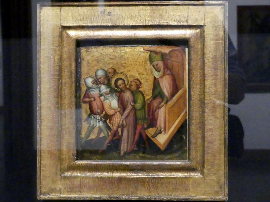 Meister der Passionstäfelchen: Christus vor Kaiphas, um 1400