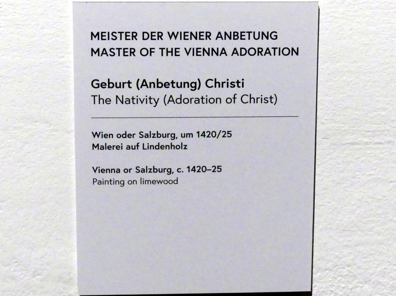 Meister der Wiener Anbetung: Geburt (Anbetung) Christi, Um 1420 - 1425