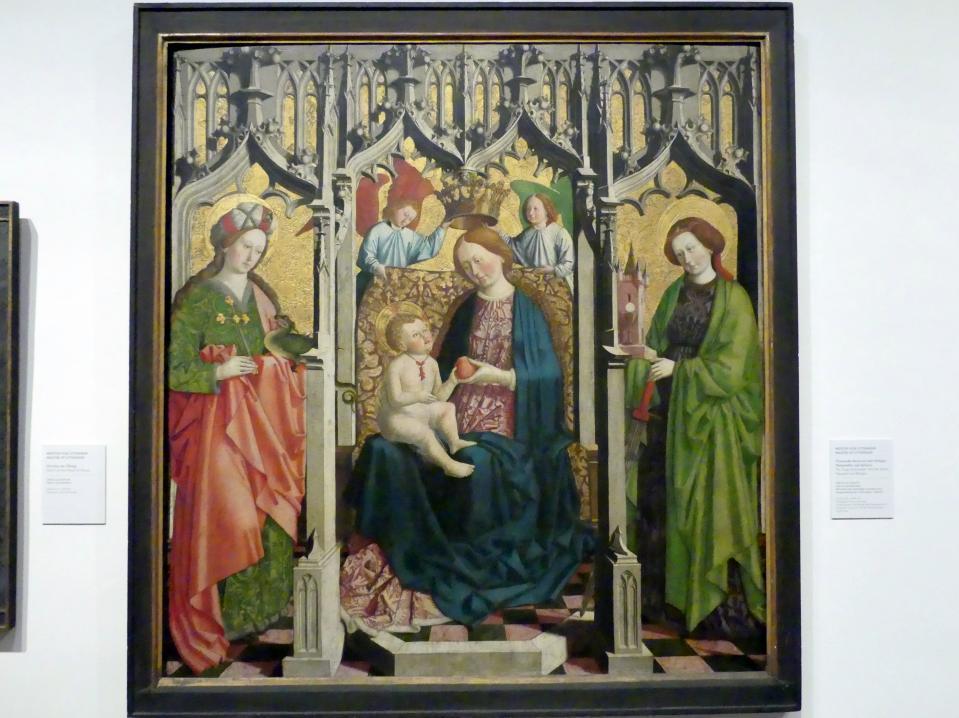 Meister von Uttenheim: Thronende Maria mit den Heiligen Margarethe und Barbara, Um 1460 - 1470