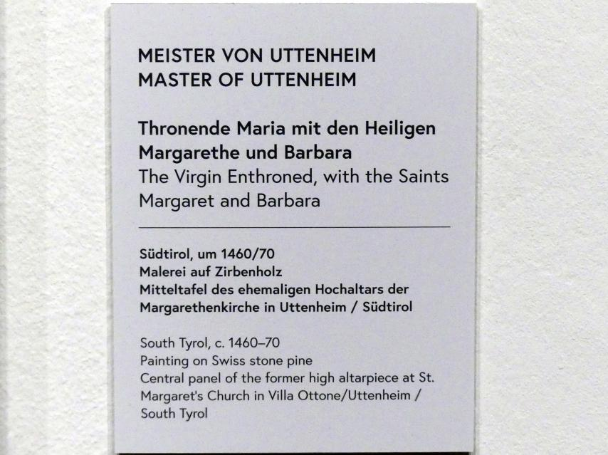 Meister von Uttenheim: Thronende Maria mit den Heiligen Margarethe und Barbara, um 1460 - 1470, Bild 2/2