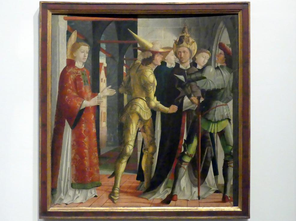 Michael Pacher: Papst Sixtus II. nimmt Abschied vom Hl. Laurentius, Um 1465