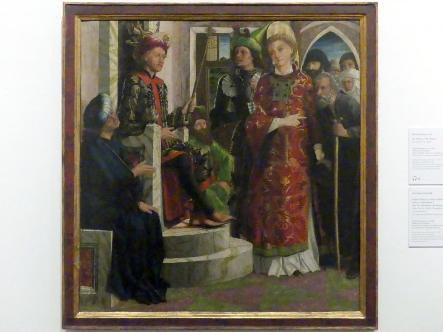 Michael Pacher: Der hl. Laurentius vor Kaiser Decius, Um 1465
