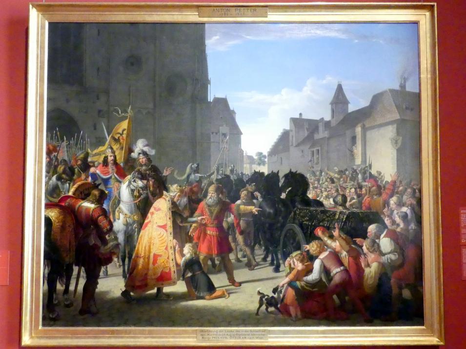 Anton Petter: Wenzel bittet Rudolf von Habsburg um die Leiche seines Vaters Přemysl Ottokar, 1826