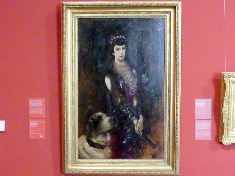 Anton Romako: Kaiserin Elisabeth mit Bernhardinerhund, 1883