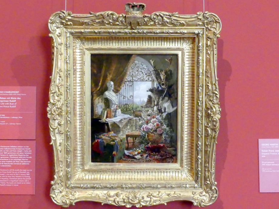 Hugo Charlemont: Stillleben mit Büste des Kronprinzen Rudolf, 1890