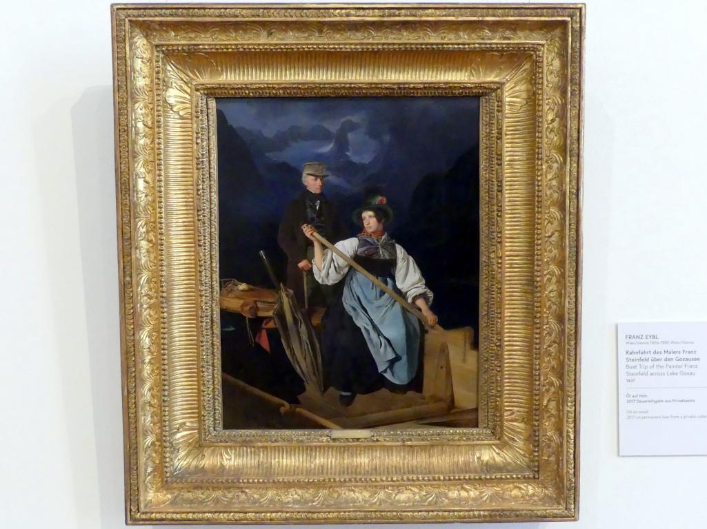Franz Eybl: Kahnfahrt des Malers Franz Steinfeld über den Gosausee, 1837