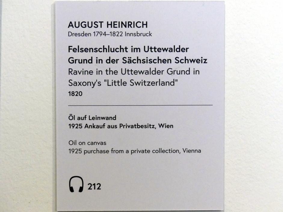 Johann August Heinrich: Felsenschlucht im Uttewalder Grund in der Sächsischen Schweiz, 1820, Bild 2/2