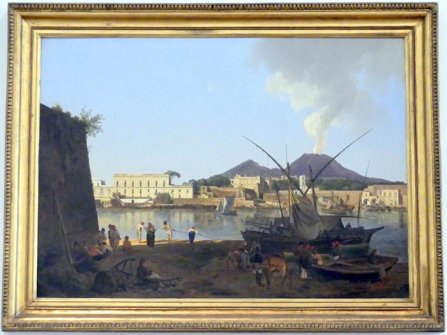 Josef Rebell: Der Hafen Granatello bei Portici mit dem Vesuv im Hintergrund, 1819