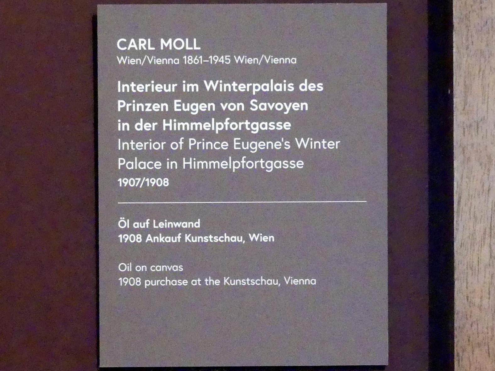 Carl Moll: Interieur im Winterpalais des Prinzen Eugen von Savoyen in der Himmelpfortengasse, 1907 - 1908, Bild 2/3