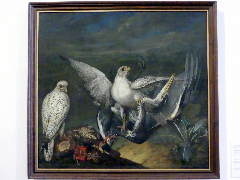 Philipp Ferdinand de Hamilton: Weiße Jagdfalken mit einem Fischreiher, 1748, Bild 1/2