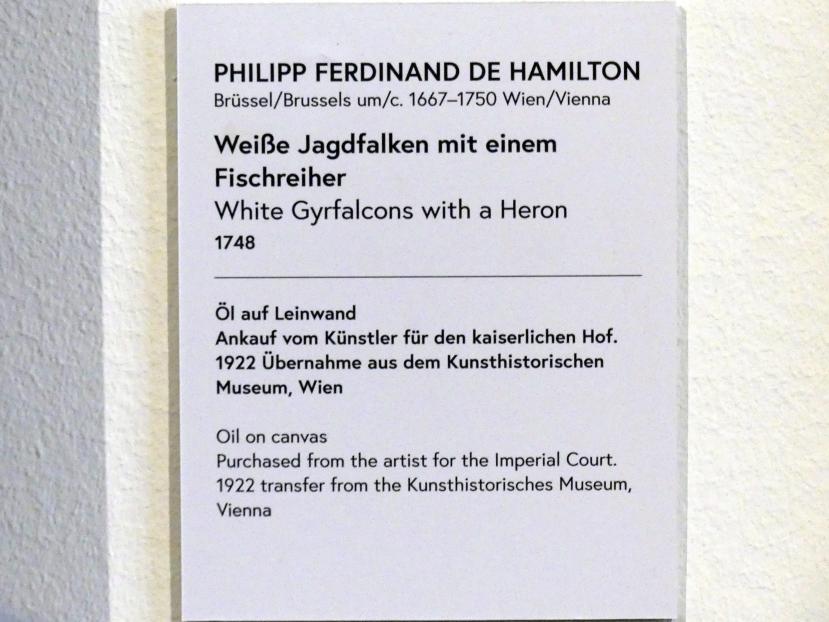 Philipp Ferdinand de Hamilton: Weiße Jagdfalken mit einem Fischreiher, 1748, Bild 2/2
