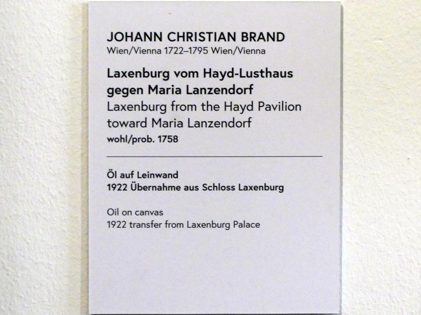 Johann Christian Brand: Laxenburg vom Hayd-Lusthaus gegen Maria Lanzendorf, 1758, Bild 2/2