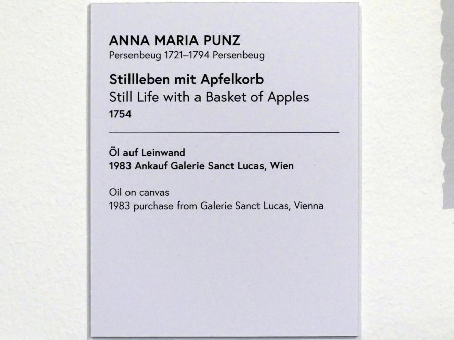 Anna Maria Punz: Stillleben mit Apfelkorb, 1754, Bild 2/2