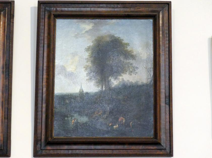 Christian Hilfgott Brand: Landschaft mit drei Bäumen und Kirche, 1746