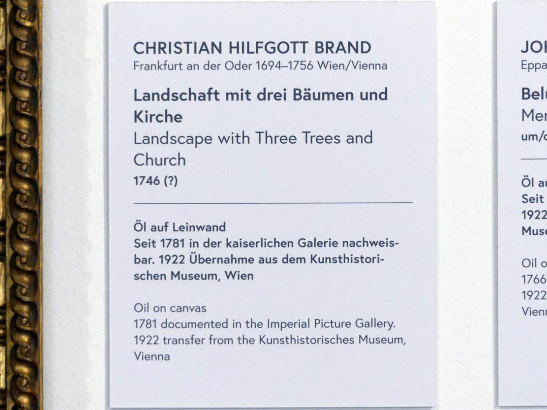 Christian Hilfgott Brand: Landschaft mit drei Bäumen und Kirche, 1746, Bild 2/2