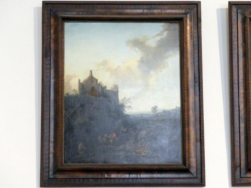 Christian Hilfgott Brand: Landschaft mit Schlossruine und Pferdewagen, 1746