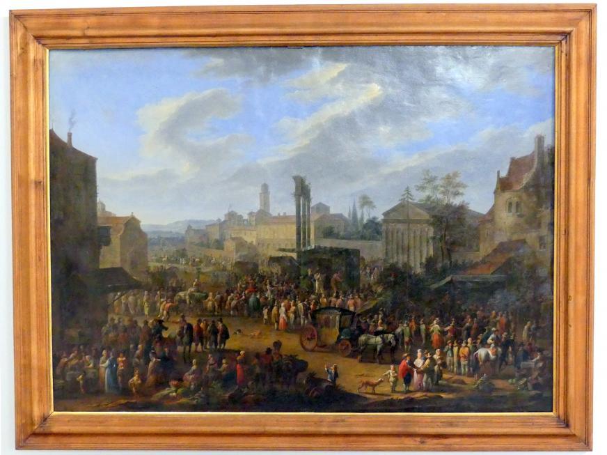 Franz de Paula Ferg: Jahrmarkt mit Tempel und Maibaum, vor 1724