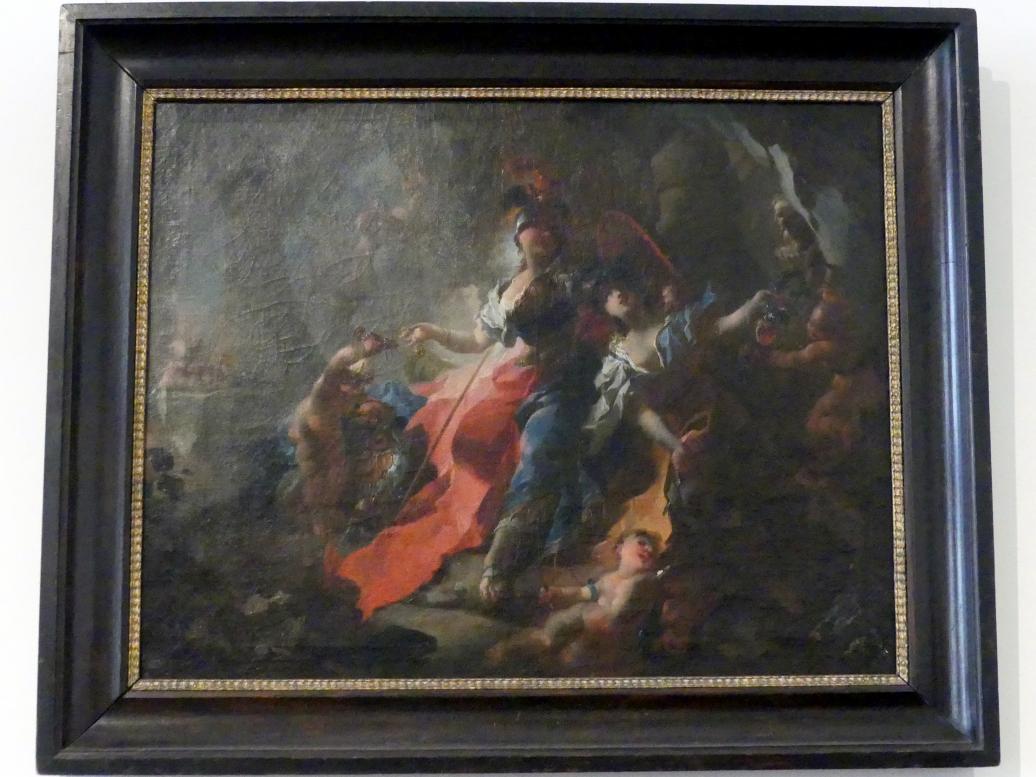 Franz Anton Maulbertsch: Die Akademie mit ihren Attributen zu Füßen Minervas, 1750
