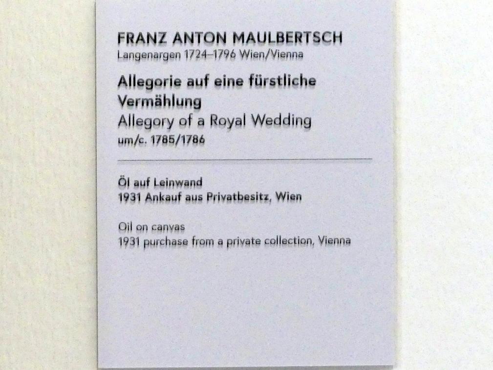 Franz Anton Maulbertsch: Allegorie auf eine fürstliche Vermählung, um 1785 - 1786, Bild 2/2