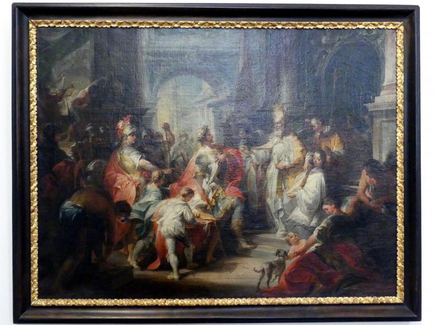Johann Wolfgang Baumgartner: Der heilige Ambrosius verwehrt Kaiser Theodosius den Eintritt in den Mailänder Dom, Um 1750