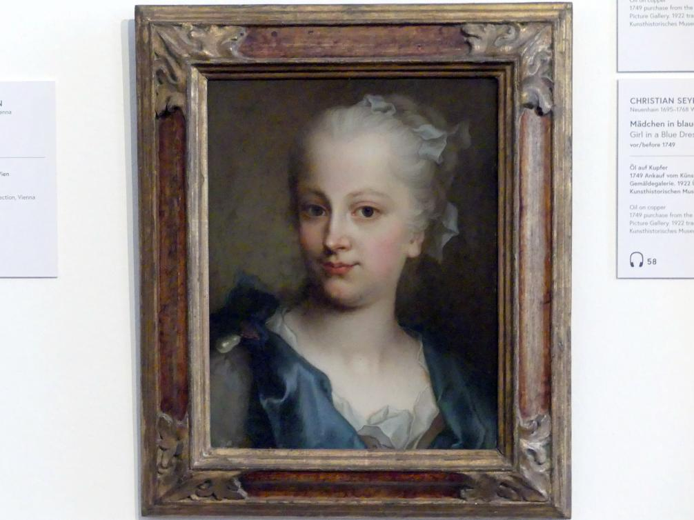 Christian Seybold: Mädchen in blauem Kleid, vor 1749