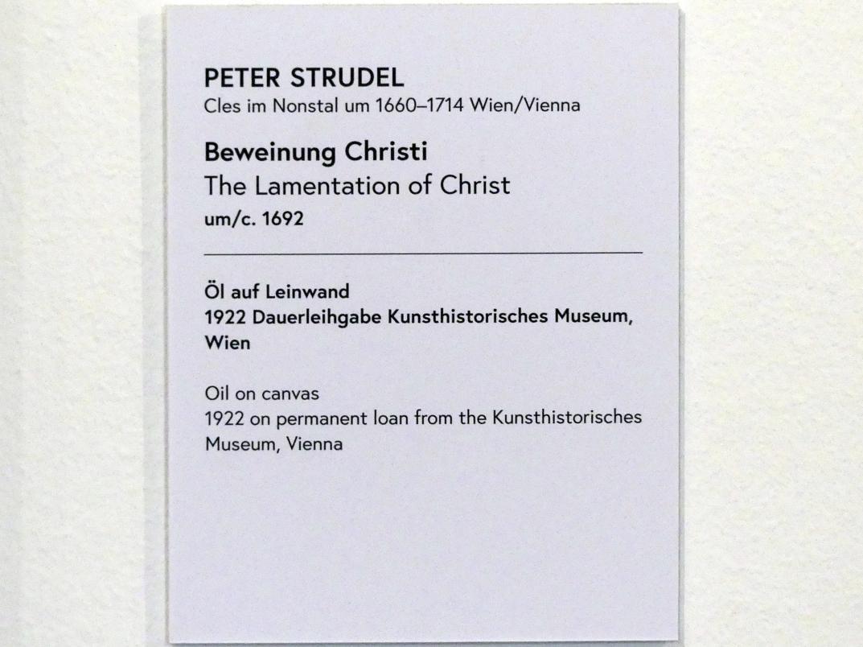 Peter Strudel: Beweinung Christi, Um 1692